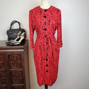 Karen Stevens Vintage Red Black Dress Pockets, 6